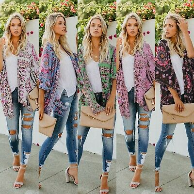 Womens Casual Kimono Blouse Coat Boho Floral Jacket Beach Cover Up Tops Cardigan
