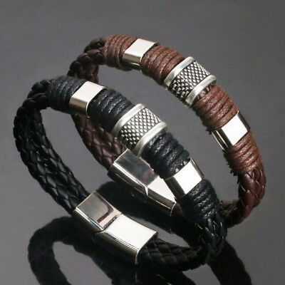 Men Women Retro Leather Steel Magnetic Braided Clasp Bracelet Bangle Jewelry New