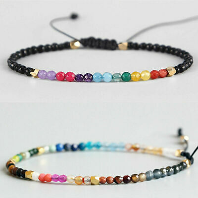 Novelty 12 Constellation Lucky Stone Bracelet 3mm Beads Chakra Boho Bracelets