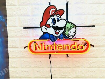 "Nintendo Game Room Beer Bar Light Lamp Neon Sign 20"" With HD Vivid Printing"