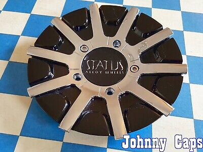 "Status Alloy Wheels Rim Center Cap C201601CAP-S827 Chrome//Black 7 1//4/"" New*"