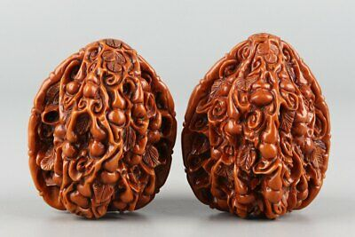 Chinese Exquisite Hand-carved gourd Carving walnut Handball A Pair