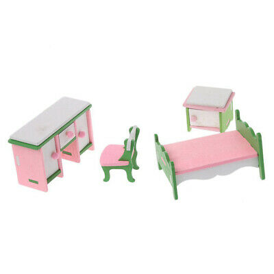 1X(1 set Baby Wooden Dollhouse Furniture Dolls House Miniature Child Play T G6X1