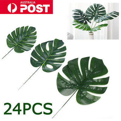 24X Artificial Tropical Palm Leaves Plastic Silk Fake Leaves Room Decor Green A