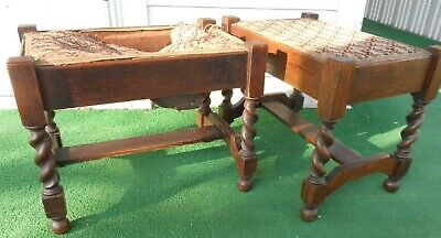 2 Matching Antique Red Oak Gothic or Arts & Crafts Style Twist Legs Footstools.