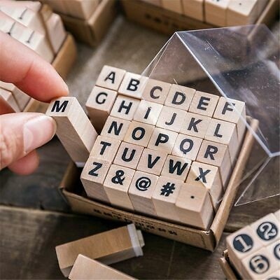 12-30pcs Vintage Basic Numeric Character Stamps Kawaii Wooden Rubber Stamps