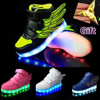 6ae74f98074b1 Kid Boy Girl Luminous Wings Shoes Casual Trainers USB LED Light Dance  Christmas