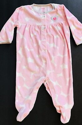 4388fc940 CARTER'S Infant Baby Girls One Piece Fleece Footed PJ Pajamas Sleeper 9M  Pink