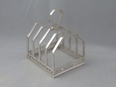 Vintage English sterling silver art deco toast rack - Hukin and Heath -Birm 1936