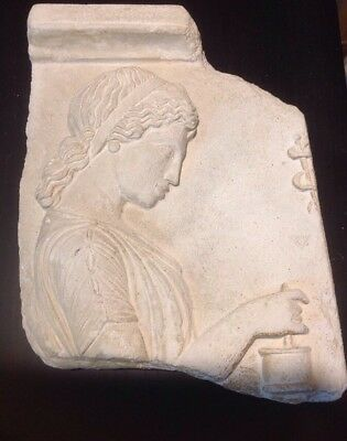 Greek Plaque,Stamped Greek Museum copy of Ancient wall fragment-Goddess Panacea
