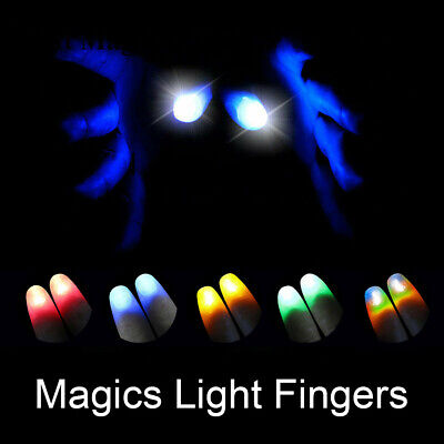2Pcs party Magic Light Up Glow Thumbs Fingers Trick Appearing Light Close Up n6h