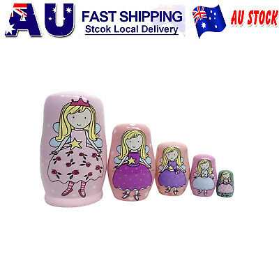 Traditional Wooden Russian Nesting Dolls Matryoshka Babushka Xmas Gift 5pcs AU