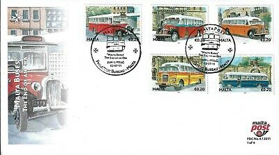 Malta 2011 Malta Buses Complete On 4 X First Day Covers