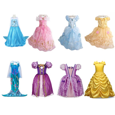 Kids Girls Costume Princess Fairytale Dress Up Belle Cinderella  Belle Aurora