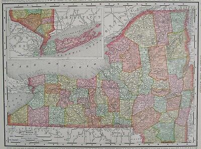 1895 date NEW YORK NY State Map. or CT Connecticut Original Rand McNally Pastel