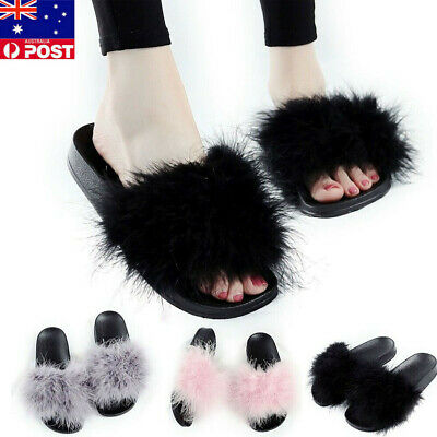 AU Womens Ladie Fur Fluffy Sliders Sandals Flat Slides Slippers Casual Shoes