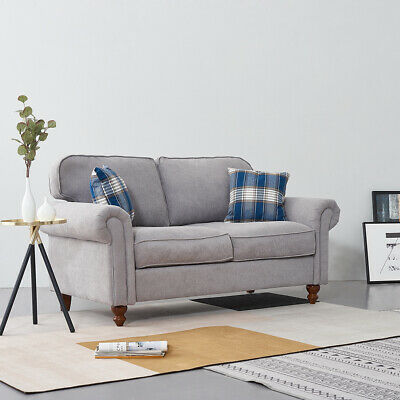 2/3 Seater Fabric Corner Sofa Settee Couch Armchair with 2 Pillows Living Room