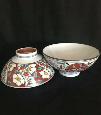 X2 Chinese/ Japanese Vintage Imari Style Soup/rice Bowl Gc