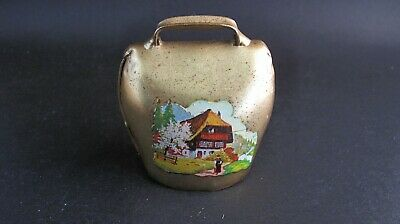 Vintage Swiss Sheep Or Goatbrass  Bell   With Scene