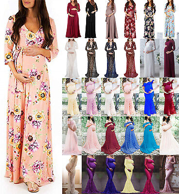 AU Womens Pregnant Maternity Long Maxi Gown Party Dress Photography Photo Shoot