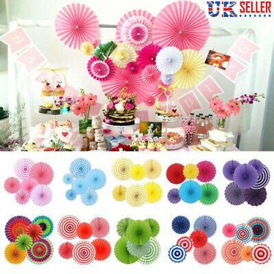 6x Paper Fan Flowers Wedding Baby Birthday Party Garland Tissue Paper Decoration