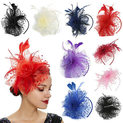 Beaded Mesh Feather Hair Fascinator Hat Clip Headband Mess Wedding Royal Races
