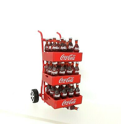 Coles Little Shop Minis -Mini Trolley with Coke Btls in Crates 1:12th Miniature