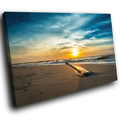 SC652 Beach Sea Sunset Bottle Cool Landscape Canvas Wall Art Large Picture Print