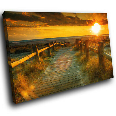 SC287 Green Orange Sunrise Forest Nature Canvas Wall Art Large Picture Prints