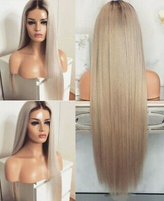 """AU 24"""" Lace Front Wig Natural Straight Light Grey Full Head Heat Resistant Hair"""