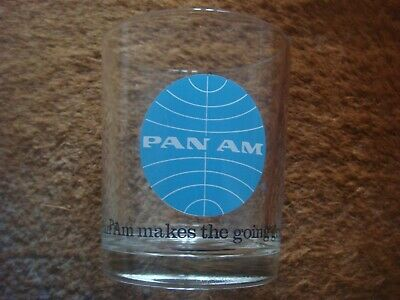 """Vintage Pan Am Airlines Drink Glass """" Pan Am Makes The Going Good """""""
