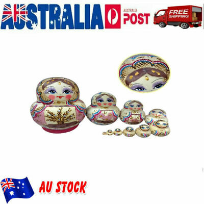 10pcs Wooden Nesting Cartoon Character Wishing Craft Dolls Toy for Birthday Gift