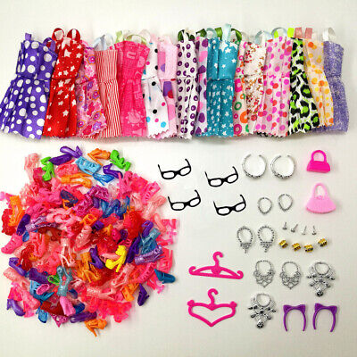 40 Item/Set Doll Accessories Clothes Glasses for Barbie Doll Shoes Glasses Crown