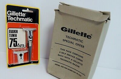 Vtg Gillette Techmatic Razor  Lot Of 6 Made In England New Sealed Nib Nos