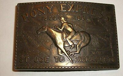Vintage Pony Express St.joe To Sacramento Brass Belt Buckle.