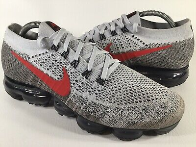 Nike Air Vapormax Flyknit Pure Platinum Red Grey White Size 9.5 Rare 849558-020
