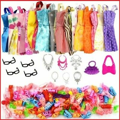 35 Pcs/Lot Handmade Party Clothes Dress outfit for Barbie Doll Shoes Necklace