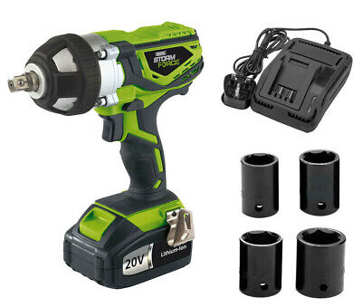 "20v Li-Ion Cordless 1/2"" Impact Wrench 4 Impact Sockets Draper Storm Force 01031"
