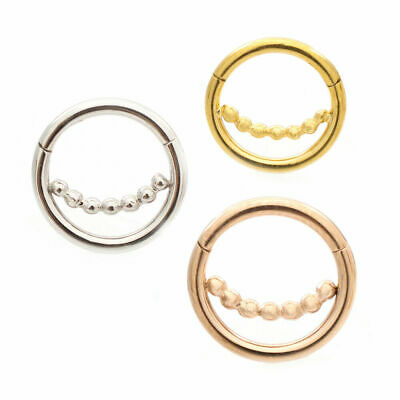 Pack of 3 Ear Cartilage &septum Micro Hinged Segment Ring with Ball Chain  16ga