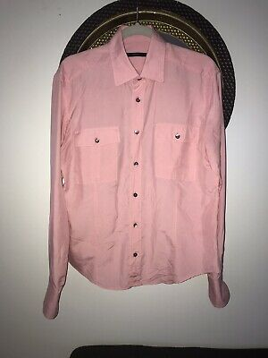 36a379e1d RARE VINTAGE Gucci Mens Silk Shirt Pink Military Style. Size 15 3/4 -