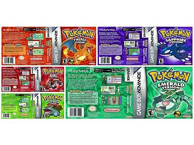 Nintendo Gba Pokemon replacement game box  case and Shimmer cover inlay