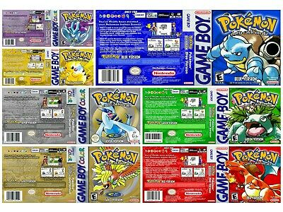 Game Boy Game boy Color replacement game case and shimmer inlay covers Pokemon