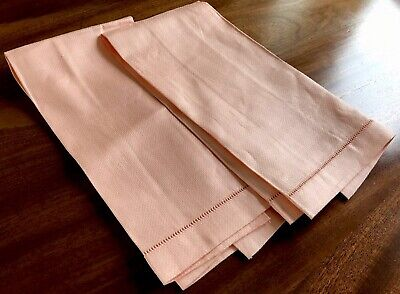 Vintage Unused Pair Peach Linen Huckaback Guest Towels 22X14 Inches