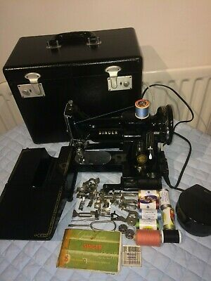Vintage Singer 222K Featherweight Free Arm Sewing Machine with attachments
