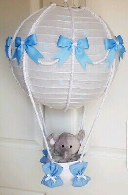 Hot air balloon light shade blue with a grey elephant looks stunning nursery x