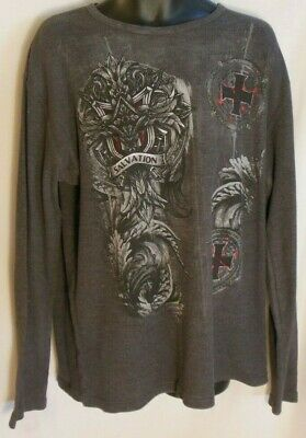 9bbd215e Men's MMA ELITE SALVATION Gray Long Sleeve T-shirt Ribbed Front Back Size  2XL