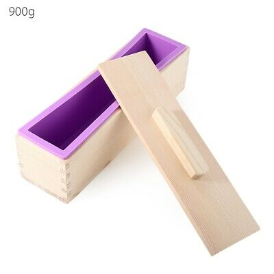 Rectangular Solid DIY Handmade Silicone Soap Crafts Mold Wooden Box with Cover