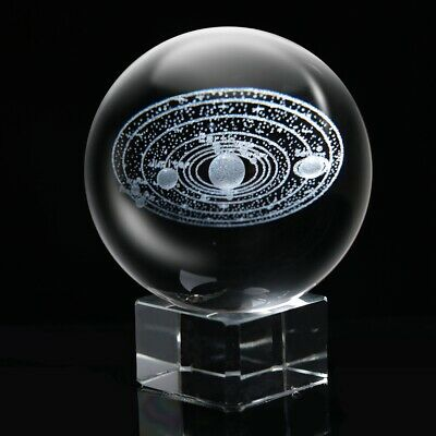 Laser Engraved Solar System Crystal Ball 3D Miniature Planets Model