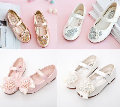 Girls Child Kids Pearl Bowknot Party Dress Shoes Bridesmaid Sequin Sandals Size
