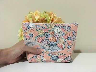 Zipper cosmetic pouch Vintage Japanese Kimono Silk Fabric Floral pink handmade